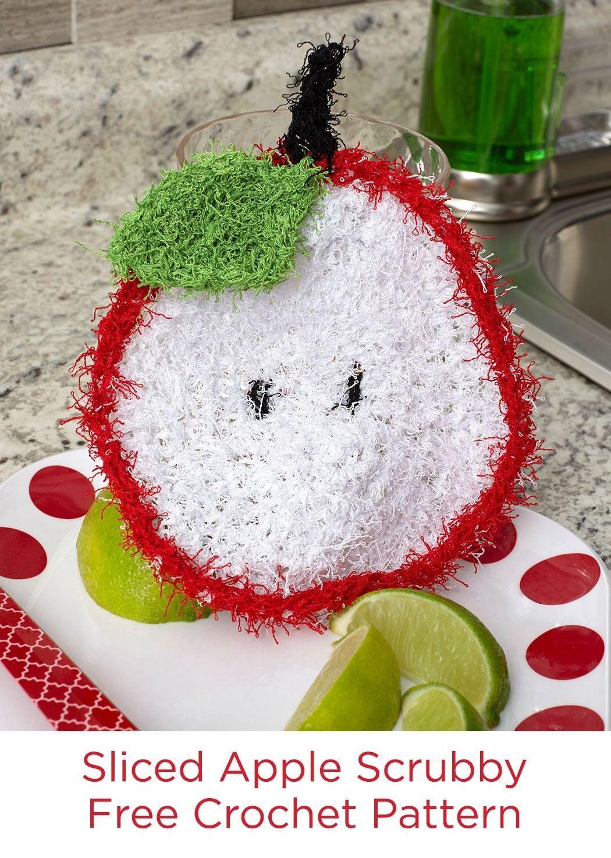 Sliced Apple Scrubby Free Crochet Pattern in Red Heart Scrubby yarn ...