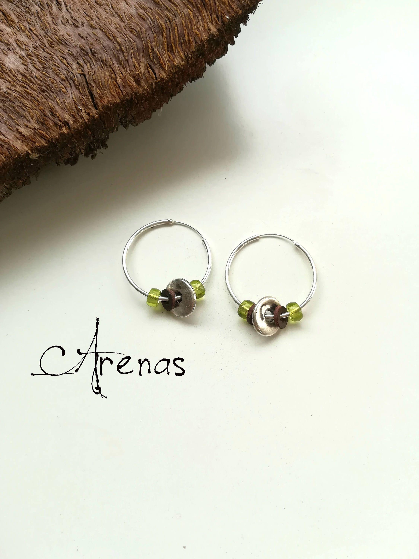 ea1698a5cd0f Aros de Plata Verde - Pendientes de Plata - Argollas con Cristales Rojos - Argollas  de