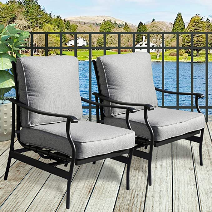 Amazon Com Patiofestival Outdoor Chair Bistro Cushioned Rocking Sofa Chairs Patio Fu Modern Outdoor Furniture Patio Furniture Makeover Outdoor Furniture Sets