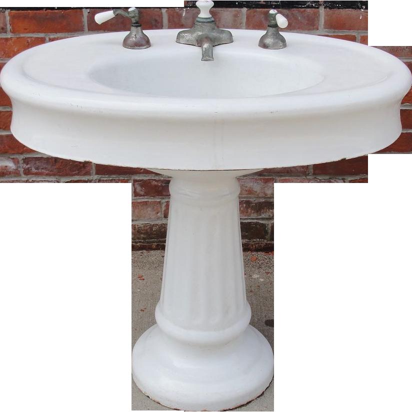 Antique / Vintage Oval Pedestal Porcelain Bathroom Sink ...