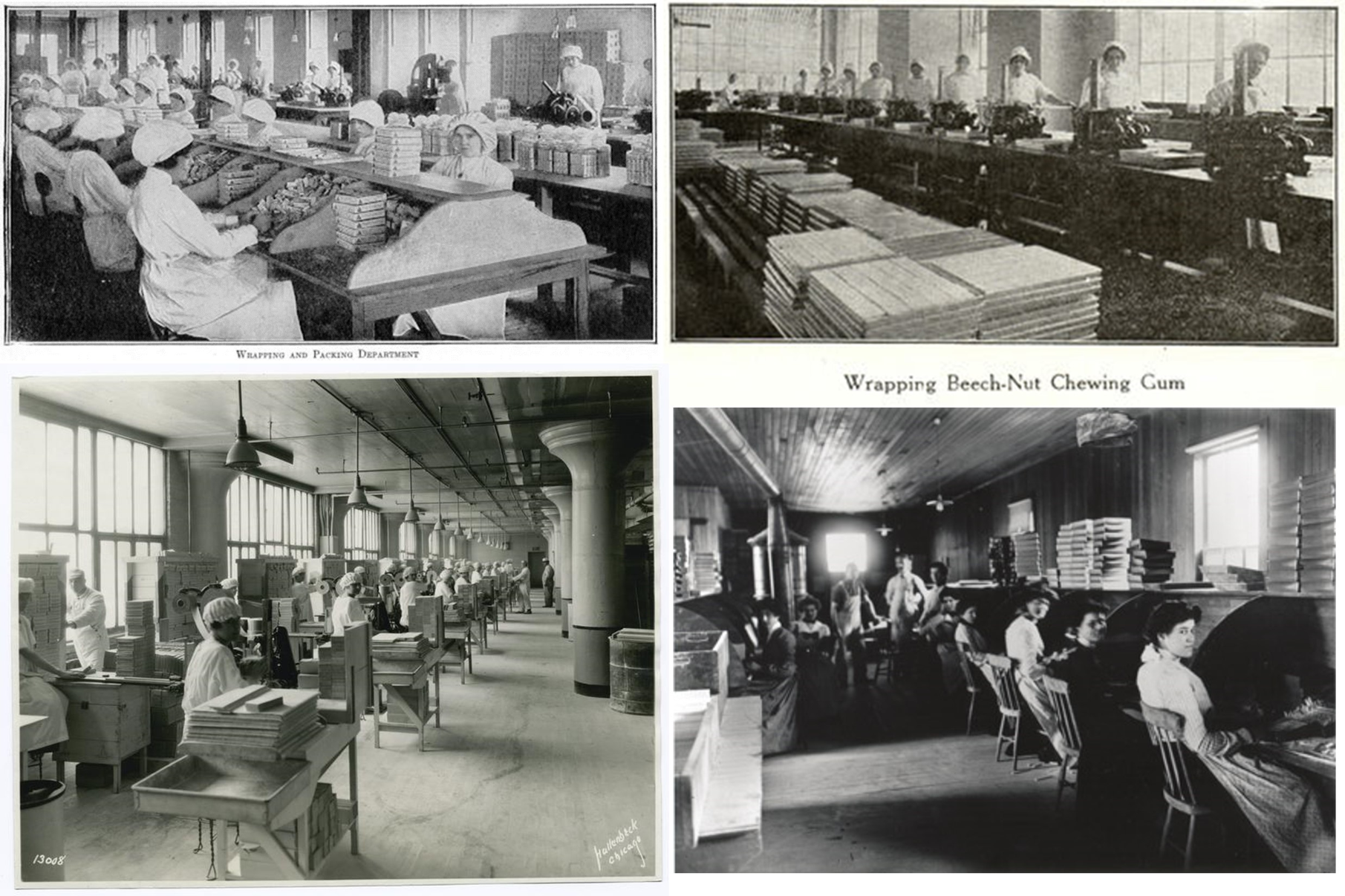 The Chicle-Chewing Gum industry served as a unique factory setting because both men and women could work there. Entire industries were developed and manned by women producing the boxed and labelled end product, with men working in other rooms manufacturing the gum pieces and ribbons from raw chicle.  See http://brianaltonenmph.com/then-and-now/chicle-the-history-of-chewing-gum/.