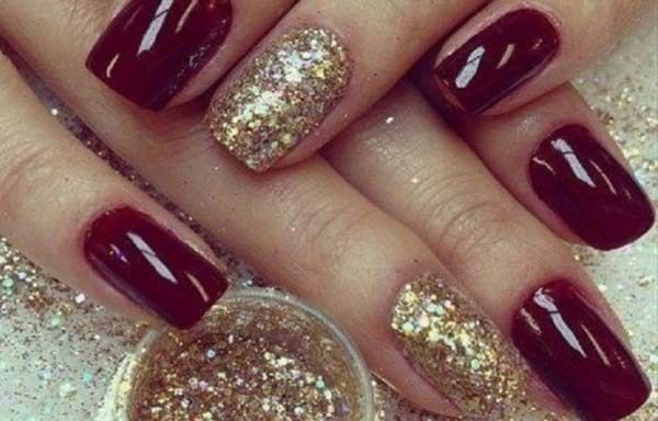 Unas Decoradas Color Vino Tinto Unas Nails Nail Designs Y