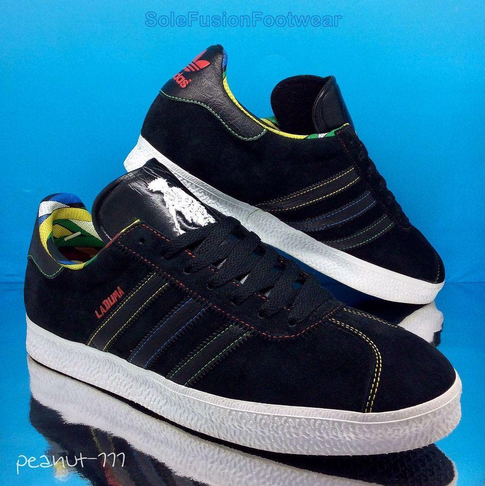 huge selection of c63dd cca57 adidas Mens Gazelle Trainers Black sz 10 Laduma Africa Rasta Sneaker US  10.5 45  eBay