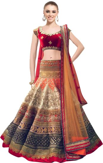 4ca5013325 Well Tex Latest Red and Off Whites Beautiful Designer Lahenga Choli - Well  Tex Lehengas for woman