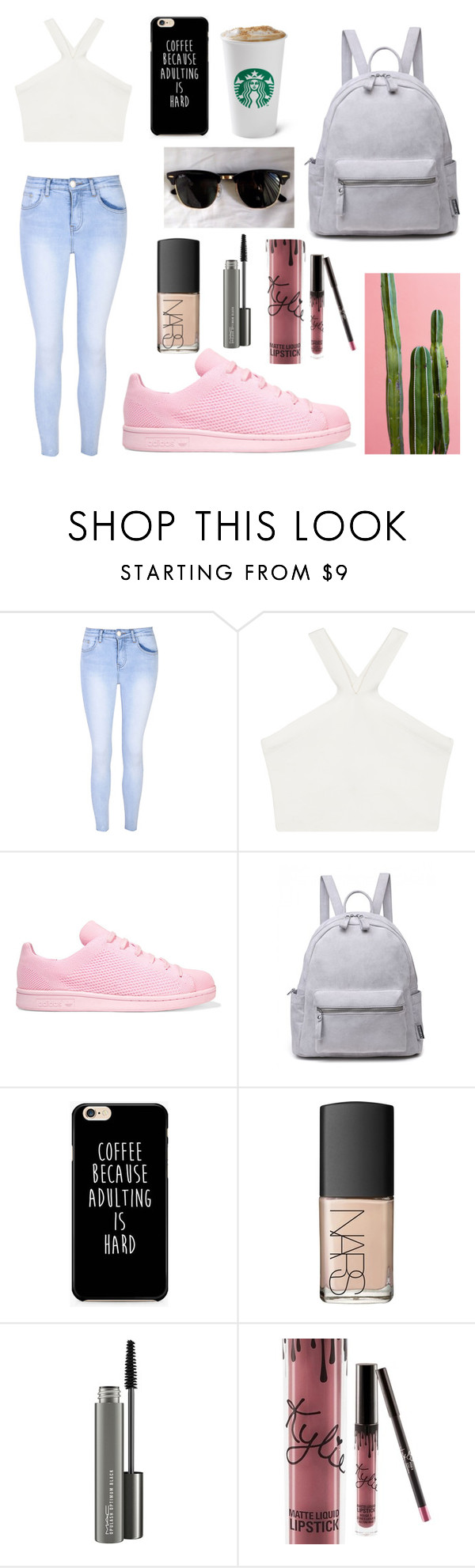 """""""yeah, baby"""" by glcot on Polyvore featuring Glamorous, BCBGMAXAZRIA, adidas Originals, Ray-Ban, NARS Cosmetics, MAC Cosmetics and Kylie Cosmetics"""