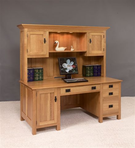 Amish Large Mission Computer Desk With Hutch Top  This Beautiful Desk  Features 100%