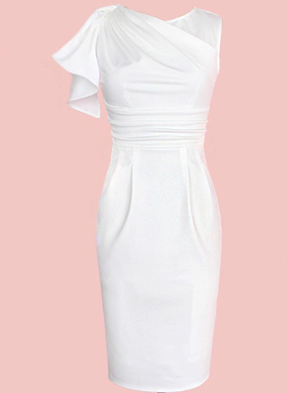 Fashion One Ruffle Sleeve Bodycon Pencil Dress   Vestiditos ...