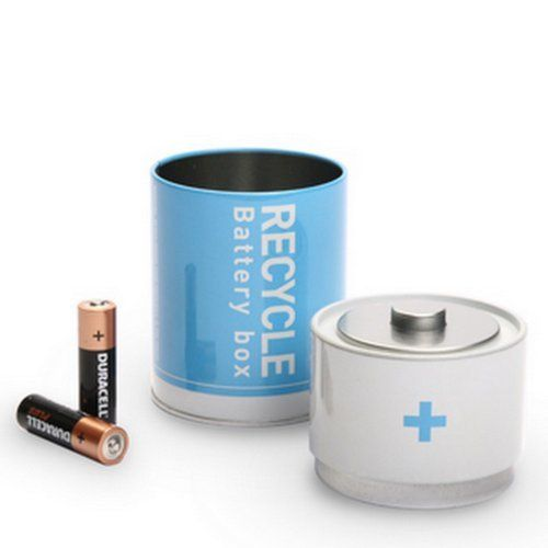 Recycle Battery Tin Box Used Batteries Waste Disposal Blue By Monkey Business Http Www Amazon Com Dp B004lui390 Ref Cm Sw Recycling Tin Boxes Recycle Box
