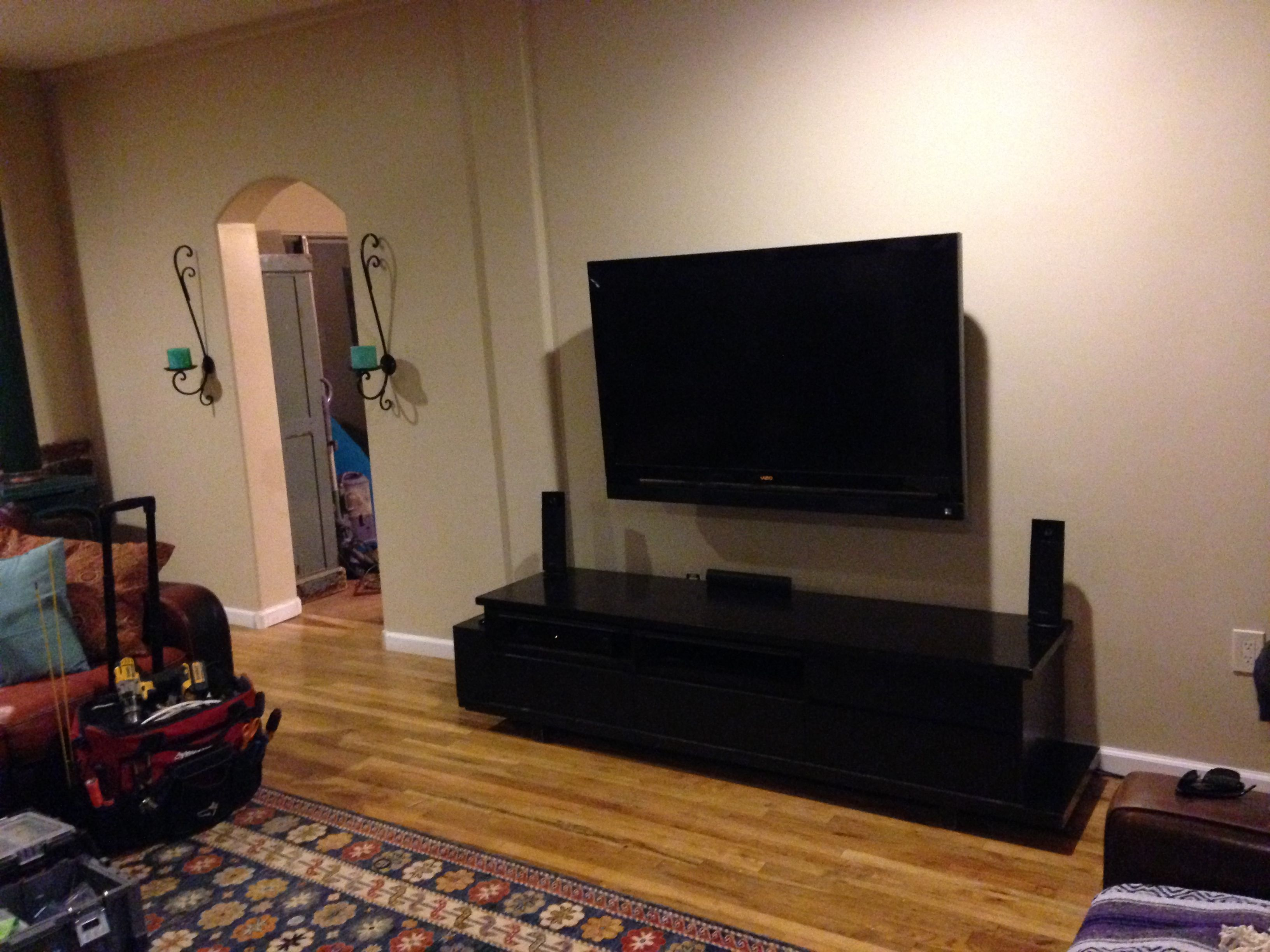 Living Room Idea For Tv Mounted Wires Hidden And Surround Sound