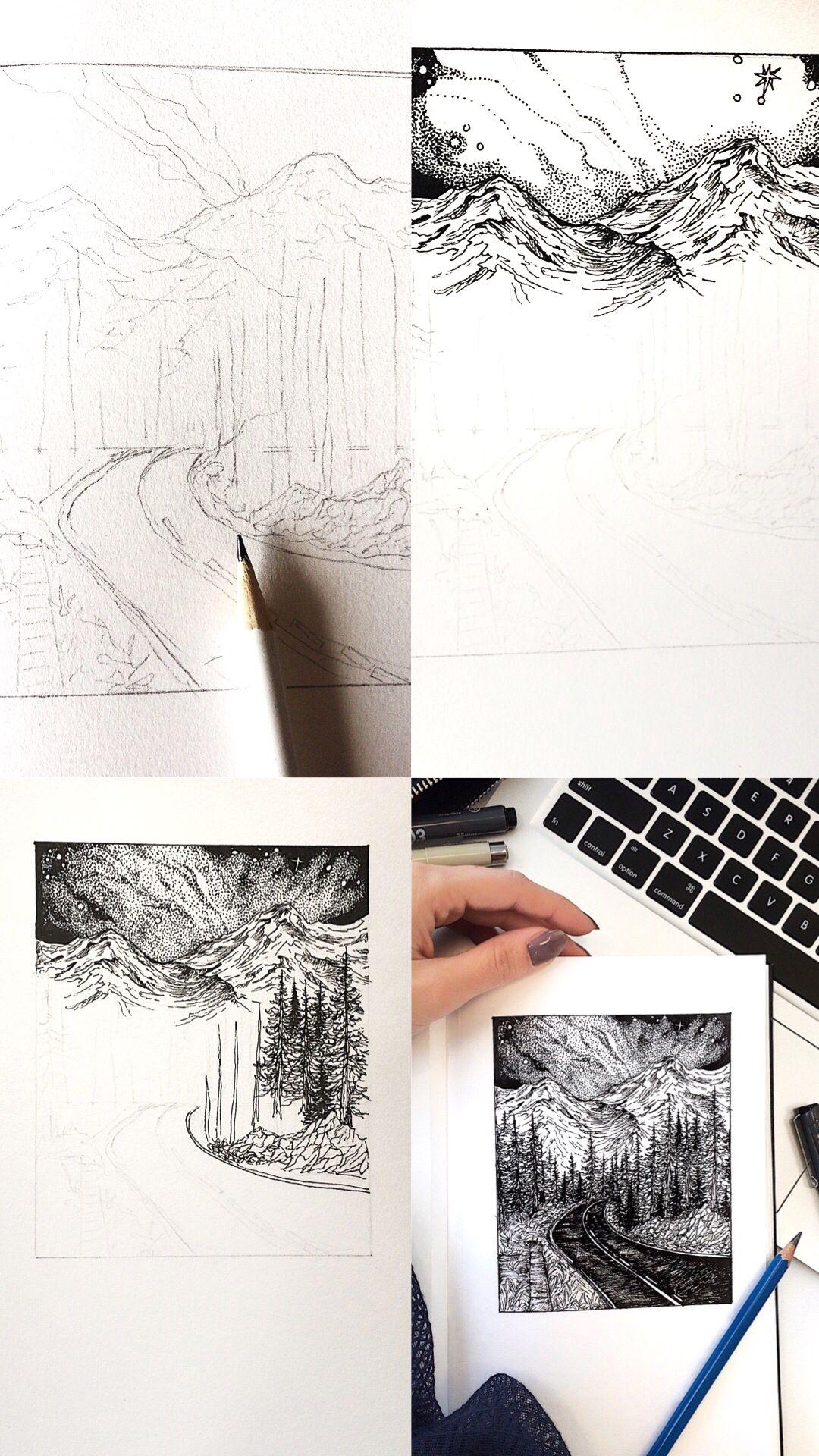 Landscape Pen Sketch Landscape Sketch Landscape Drawing