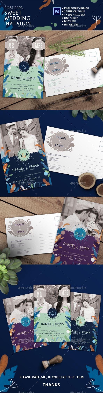 wedding invitation design psd%0A Postcard Sweet Wedding Invitation