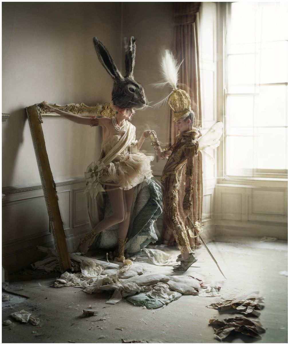 """<div class=""""artist""""><strong>Tim Walker</strong></div><div class=""""title_and_year""""><em>Stella Tennant in hare mask and Charles Guislan in 'bird of paradise'  crown with sword, Howick Hall, Northumberland</em>, 2010</div><div class=""""medium"""">Archival pigment print on Moab slickrock metallic pearl paper</div><div class=""""dimensions"""">70 x 60 cm</div><div class=""""edition_details"""">Edition of 10</div>"""