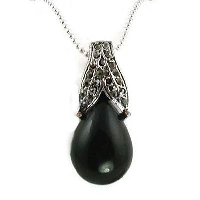 Mama Designs Black Oval Faux Marcasite and Hemitite Pendant Necklace