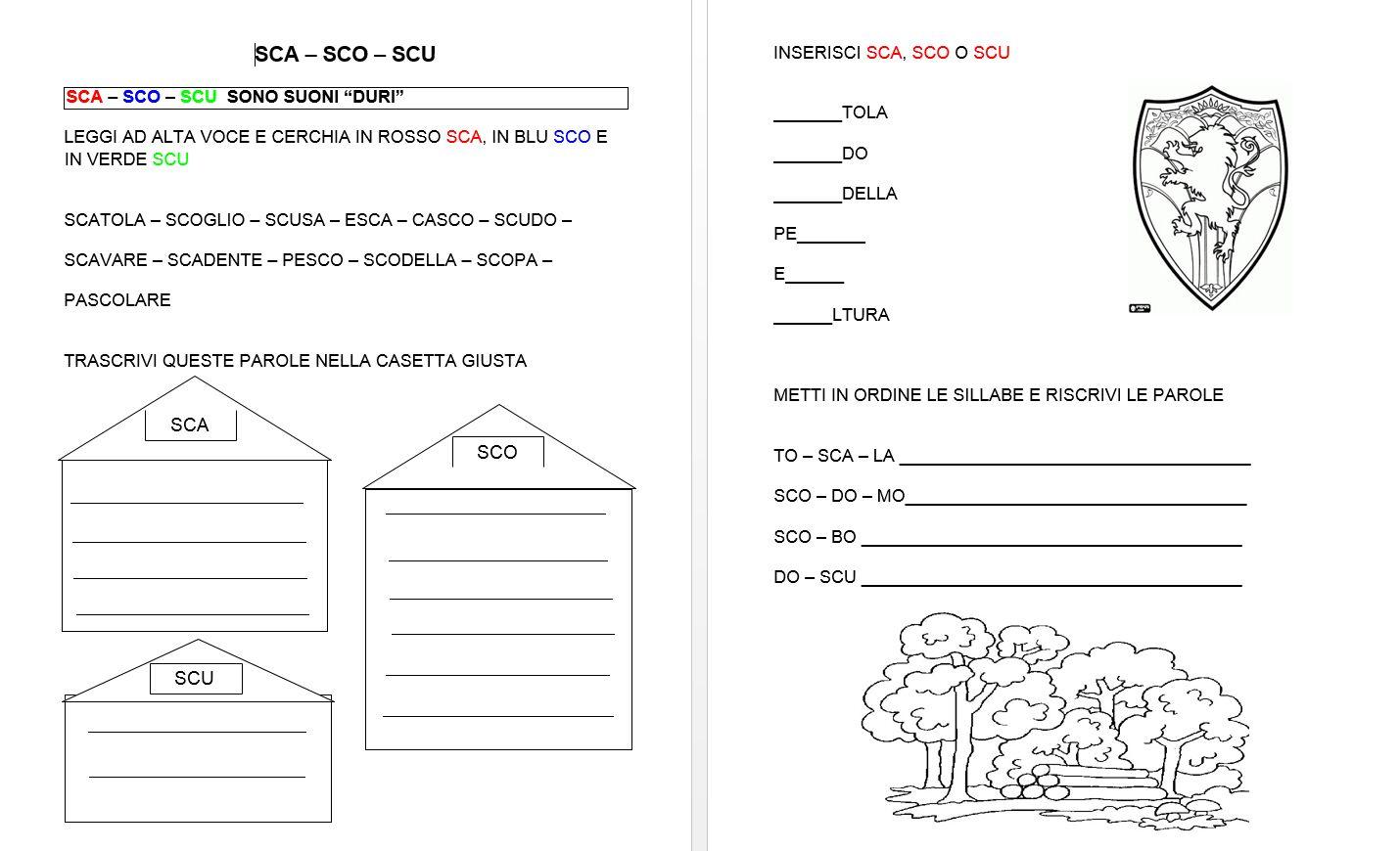 schede didattiche sca sco scu trovate sul web italiano On sca sco scu classe prima