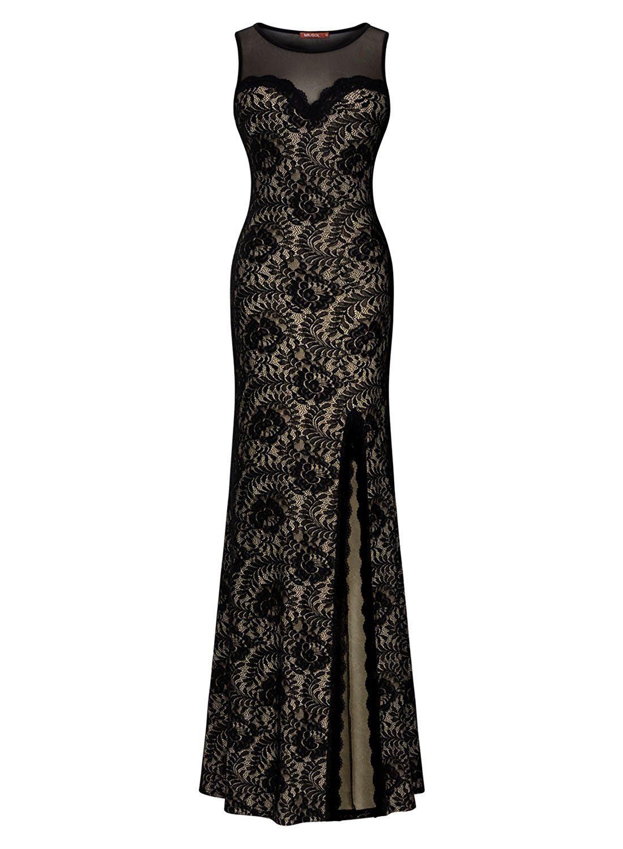 Miusol womenus sleeveless long black lace split side evening formal