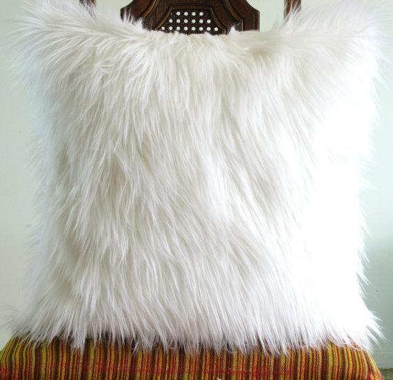 White Fur Pillow Throw 14 X 14 Fluffy White Fur White Linen Pillow Cover  Decorative Set