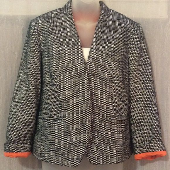 Gorgeous LOFT jacket Black and white checker print with orange lining. Add a pop of color to simple sophistication! By Ann Taylor LOFT, size 10, worn just a few times. Love!! Ann Taylor LOFT Jackets & Coats