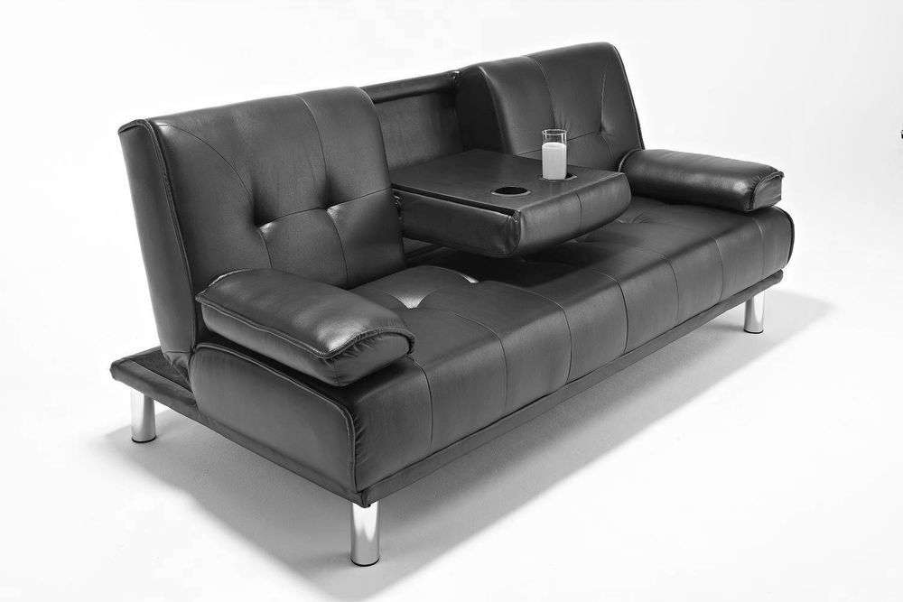 Seater Faux Leather Sofa Bed Futon, Double Leather Sofa Bed