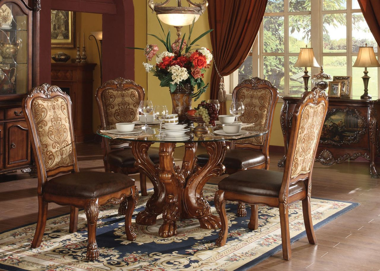 Dresden  Round Glass Cherry Oak Dining Table Set Oak Dining - Formal round dining room sets