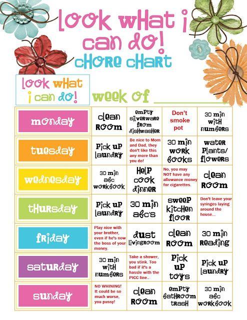 Allowance Chore Chart