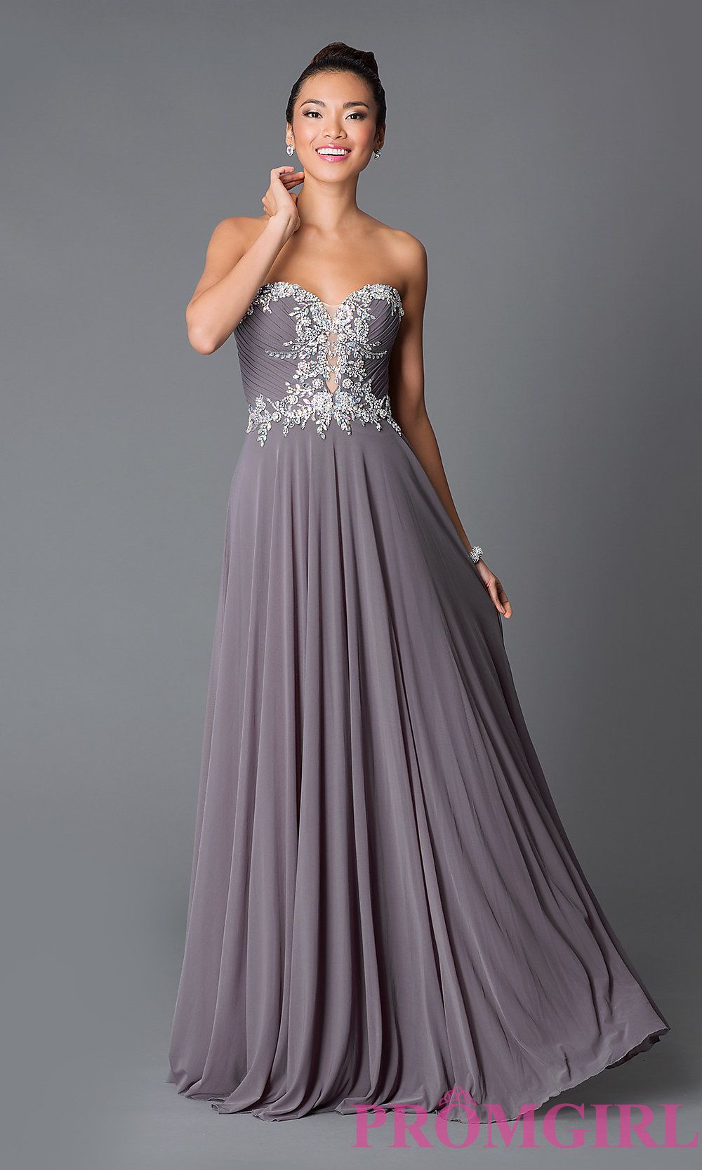 Jovani long strapless sweetheart dress JVN 33470, Color Gunmetal, Sz ...