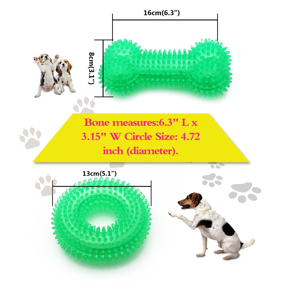 Bbdogo Dog Chew Toys Squeaky Bone Chew Toy For Aggressive Chewers