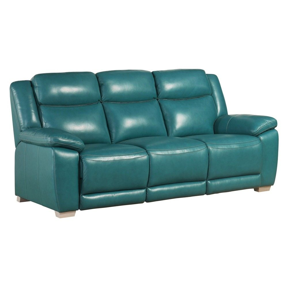 Best Lyra Top Grain Leather Reclining Sofa Turquoise 400 x 300