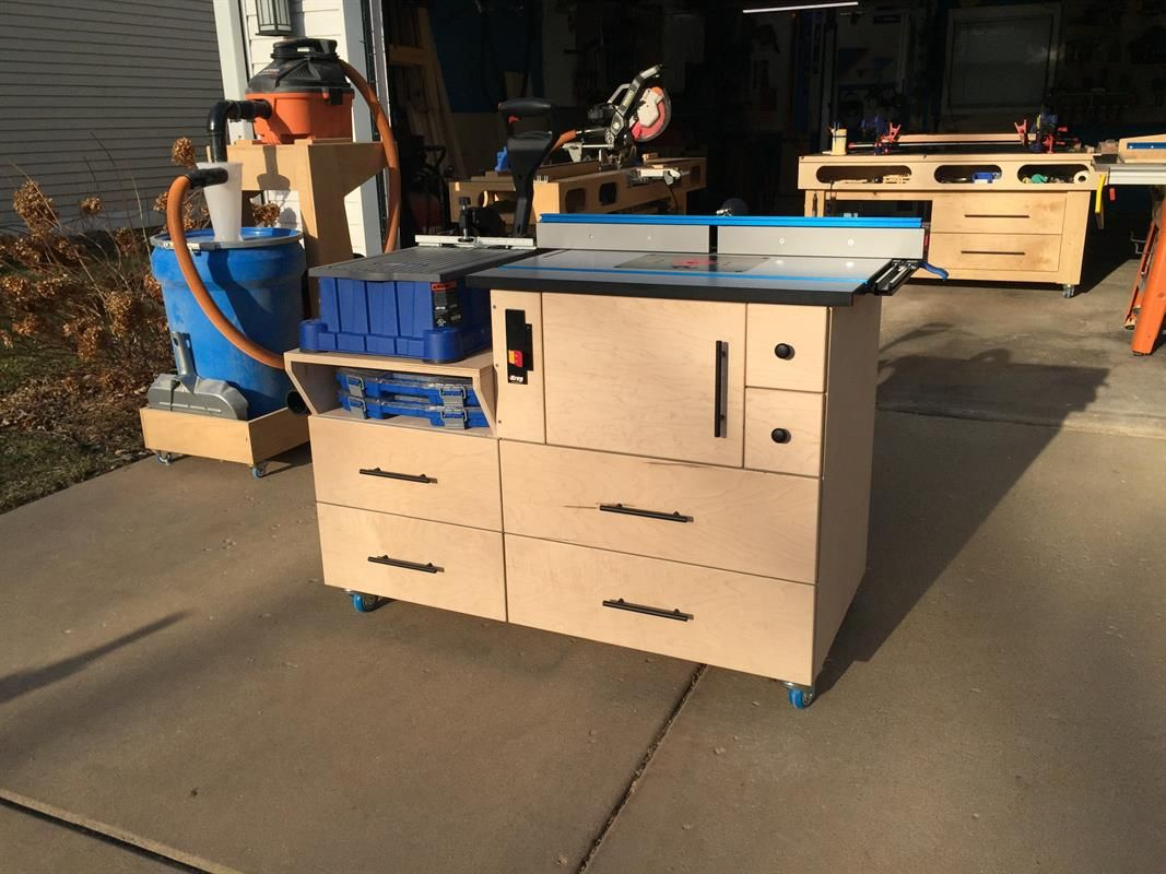 For This Build I Knew That Wanted To Fit Two Tools Into A Relatively Small Footprint Having A Small Shop That Sh Router Table Mobile Router Router Table Top
