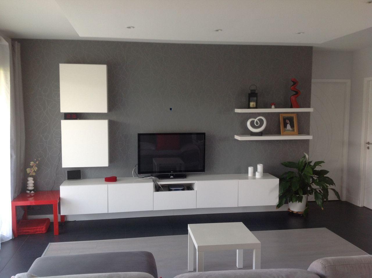 Salon fond papier peint gris et meuble blanc besta Ikea  Maison LF par Kali31 sur
