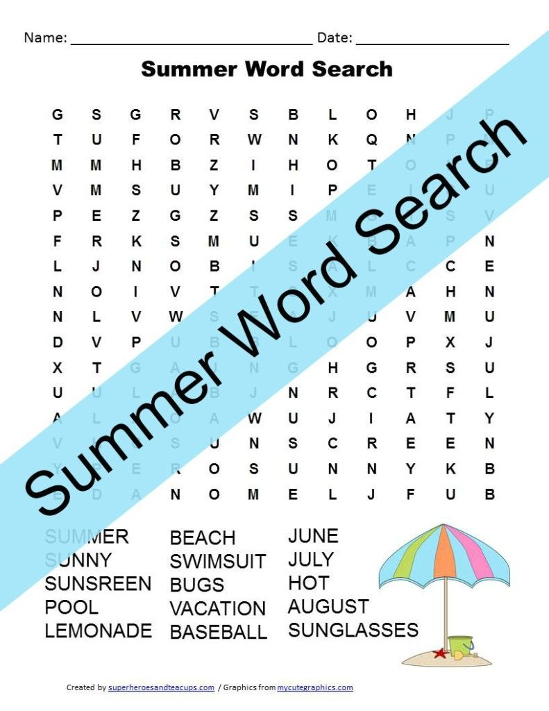 Summer Word Search Free Printable   Word search, Free printable and ...