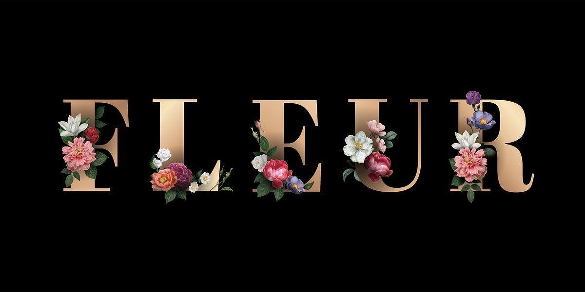 Download Premium Vector Of Elegant Floral Font With The Word Fleur Vector Floral Font Floral Typography Vector Free