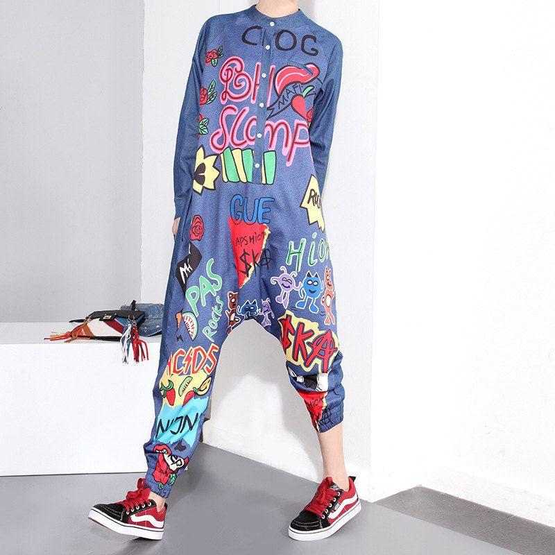 944c678f1dd Fashion Trendy Women Blue Denim Graffiti Jumpsuit Loose Long Sleeved Harem  Pants Hipster Jumpsuit by HenleyMilford on Etsy