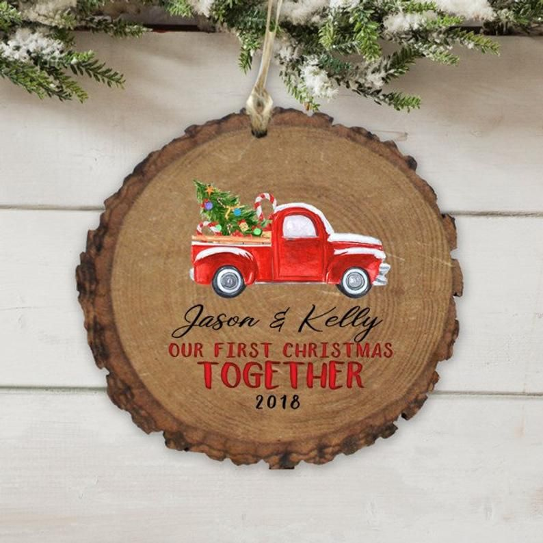 Our First Christmas Together Vintage Red Car Truck