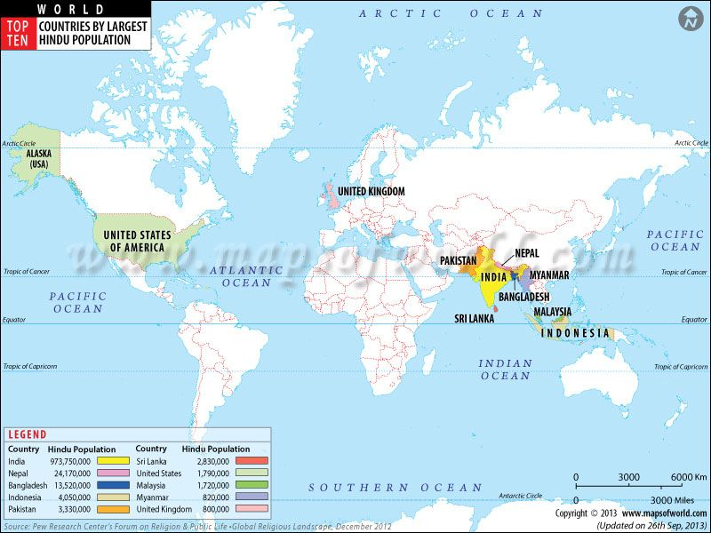 Top Ten Countries With Largest Hindu Population MA Hinduism - Top ten religions in world