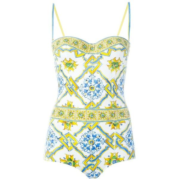 3292fb02f1a Dolce & Gabbana Majolica print swimsuit ($580) ❤ liked on Polyvore  featuring swimwear, one-piece swimsuits, multicolour, swim suits, dolce  gabbana swimsuit ...