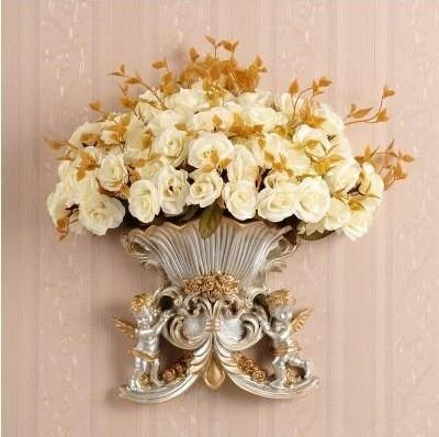 Photo of European Resin Angel Wall Vase Ancient Wall Fake Flower Pot Mural Crafts Decoration Home LIvingroom Wall Sticker Basket Ornament – style11-with flower