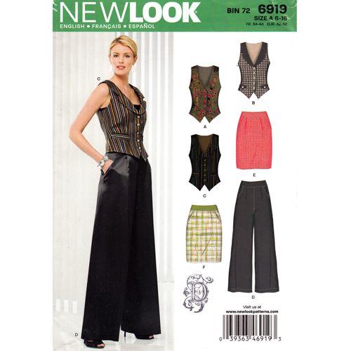 New Look 6919 Womens Tuxedo Vest Skirt & Palazzo Pants Pattern Bust ...
