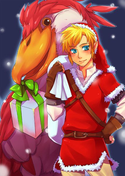 Link dressed like santa claus with the crimson loftwing