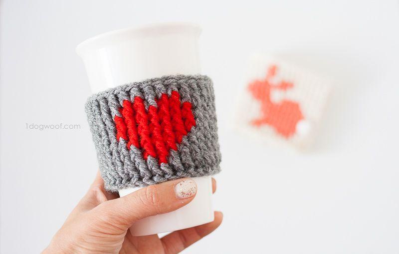 Heart Cup Cozy Crochet Pattern | Taza acogedora, Acogedor y Tejido