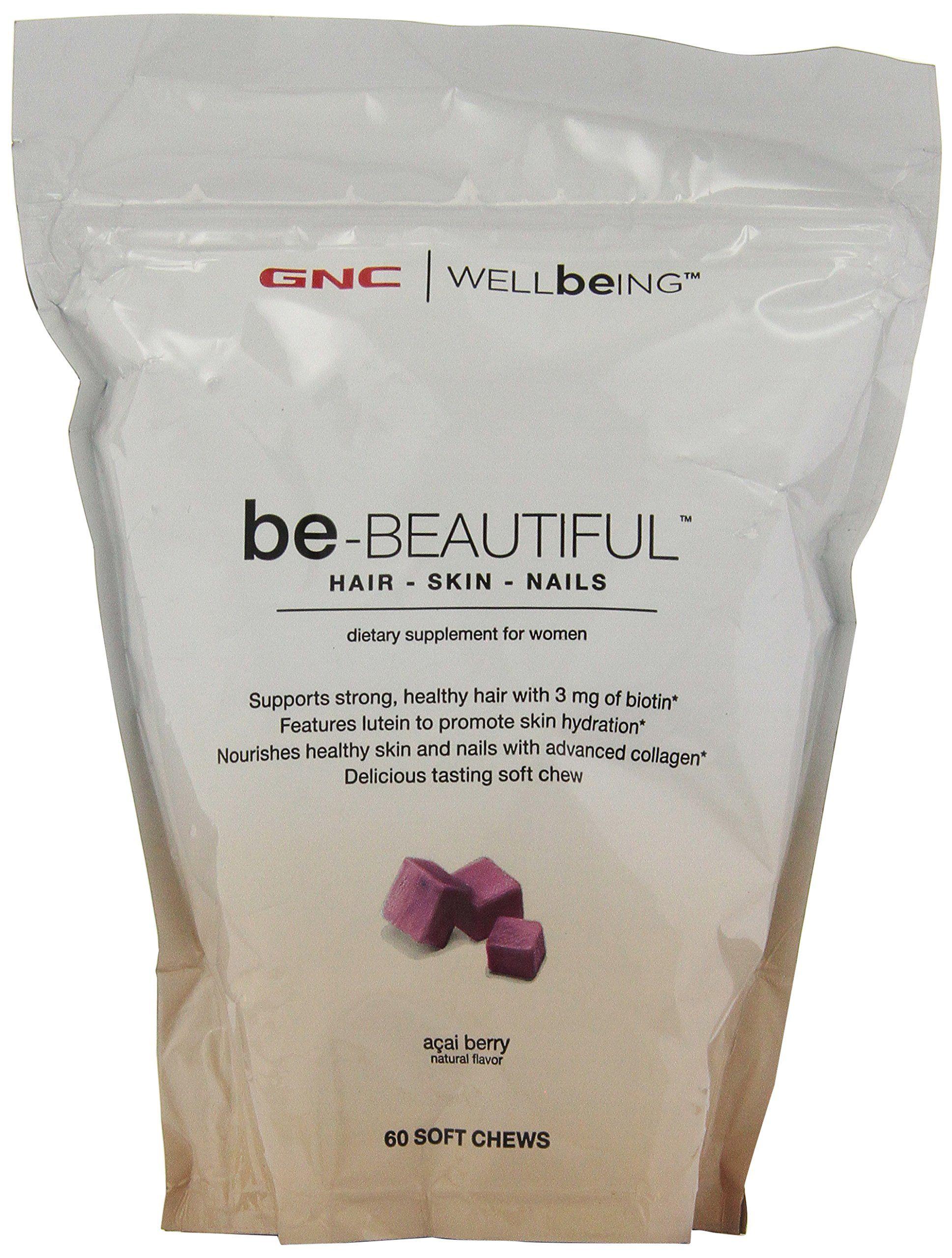 GNC Wellbeing Be-beautiful Hair-skin-nails 60 Soft Chews Acai Berry ...