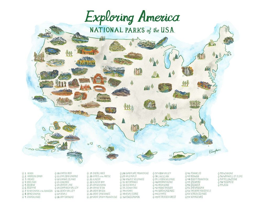 National Parks Road Trip Isle Box City Of Houghton RV Park - Map of all us national parks