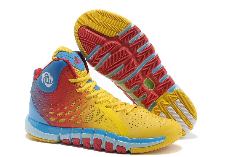 Hot Adidas Adizero Rose 773 II Yellow Blue Red Shoes On Sale half off