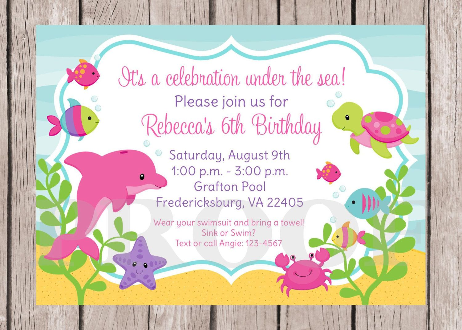 PRINTABLE Under the Sea Birthday Party Invitation / Girls Under the ...