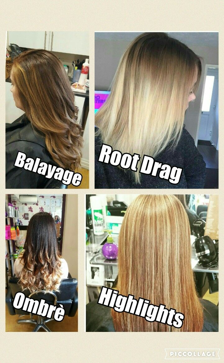 The Difference Between Certain Hair Colouring Techniques Balayage Root Drag Ombre Highlights Hair Color Techniques Hair Styles Hair Color Highlights