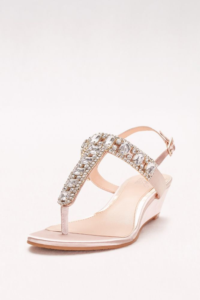 c86fc666d9f5 Jeweled Satin T-Strap Low Wedges - Champagne (Yellow)