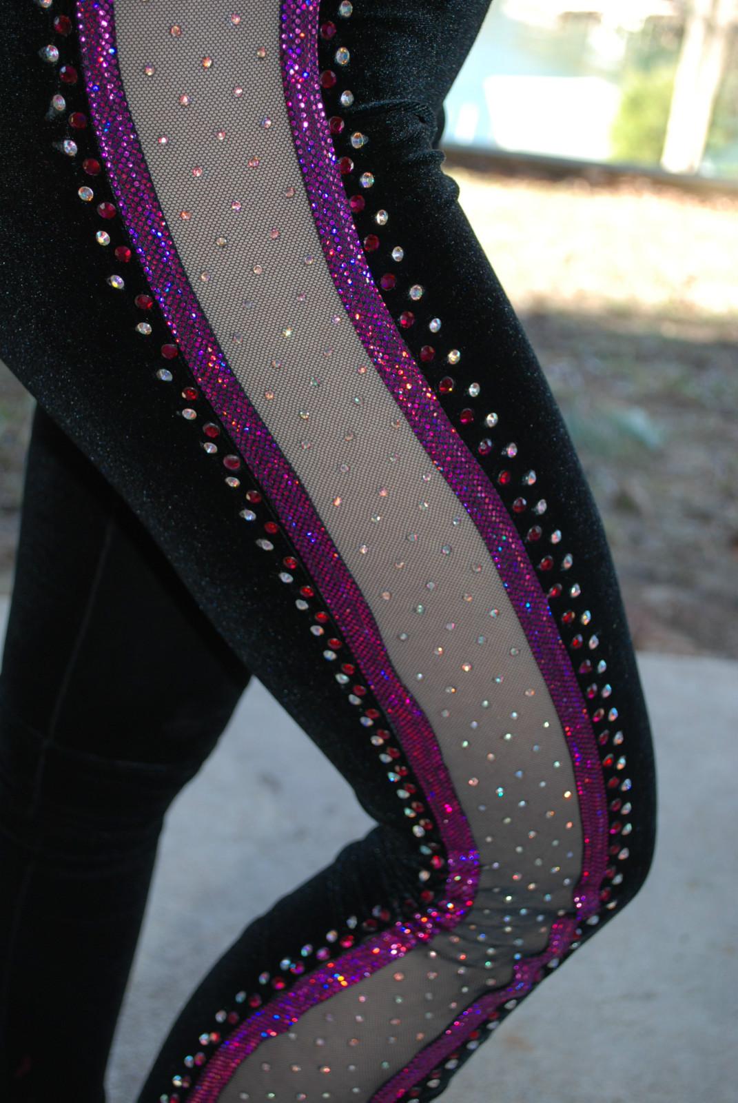 Black and Magenta Custom Competition Dance Costume AXS s Lots of Rhinestones   eBay