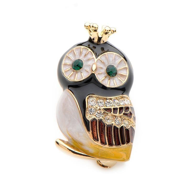64f8fec14 Rhinestone Green Eyes Owl Brooch   Jewelry Lapel Pins   Brooch ...