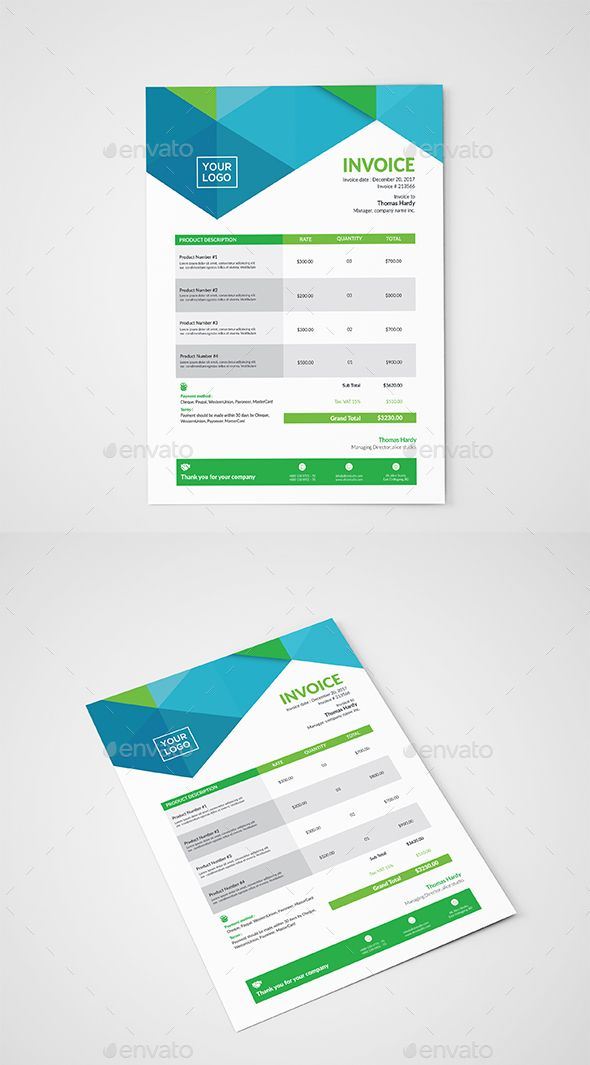 Invoice Template Template, Font logo and Mockup - invoice logo
