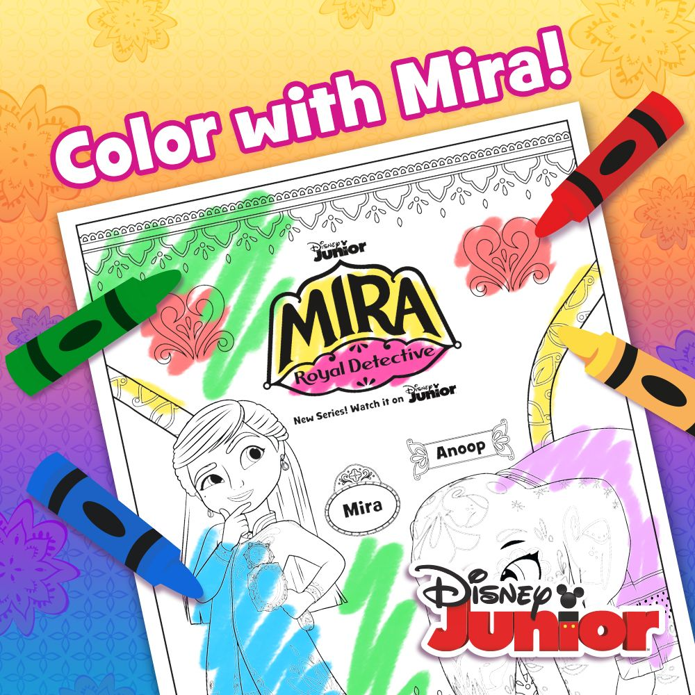 Color With Mira Disney Junior Coloring Sheets Charlie Brown Party
