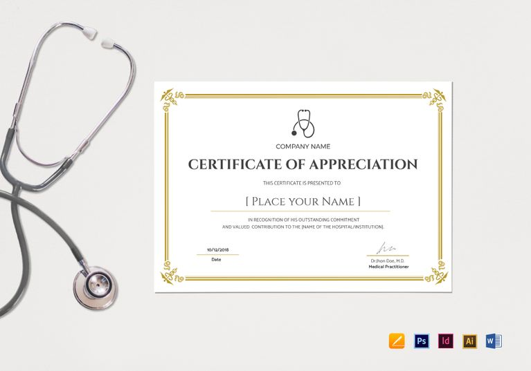 Blank Medical Appreciation Certificate Template $12 Formats ...